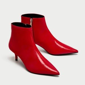 Zara Mid Heel Red Faux Leather Ankle Boot Size 8